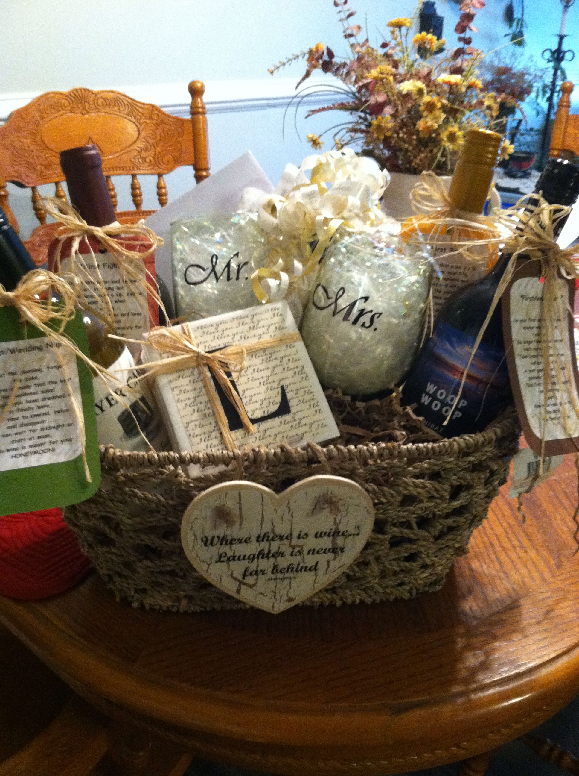 Wine Basket as Bridal Shower gift. Each wine represents a