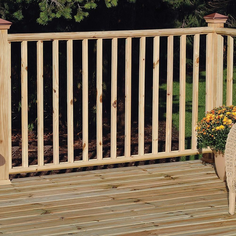 Weathershield 36 In X 2 In X 2 In Pressure Treated Wood Square End Baluster 102596 The Home Depot Pressure Treated Wood Porch Railing Diy Wood Square