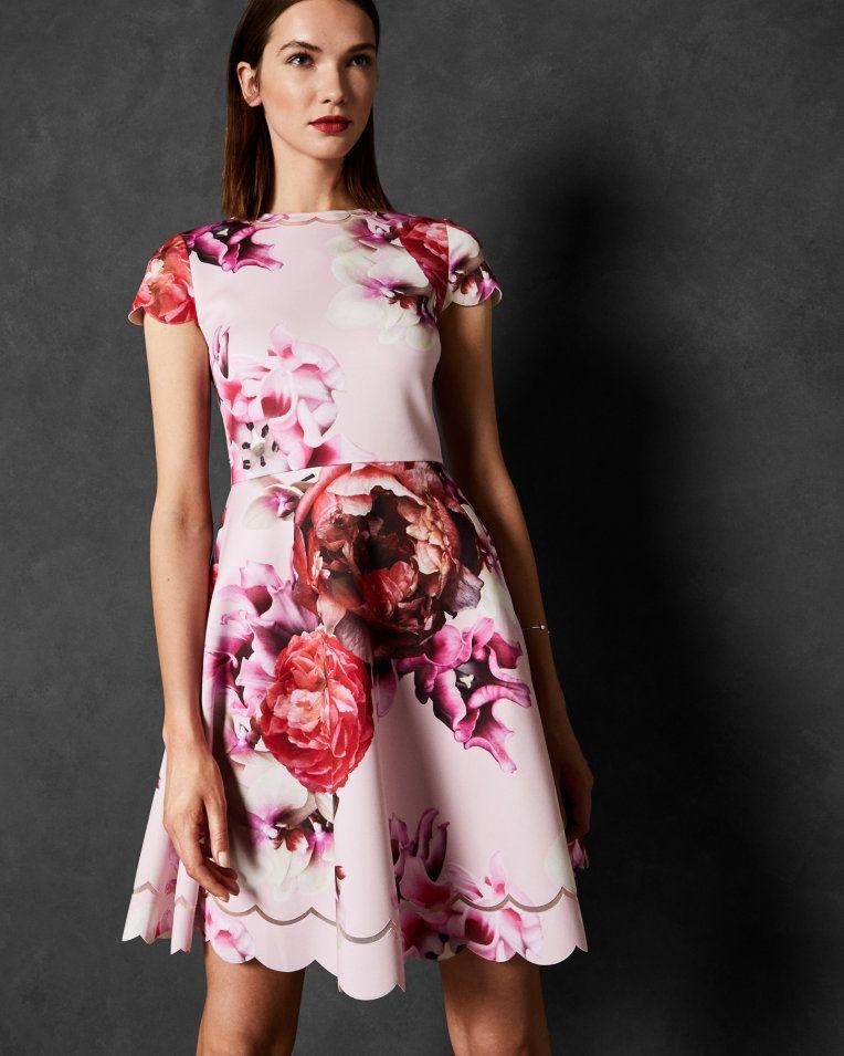 Splendour Skater Dress Light Pink Dresses Ted Baker Dresses Floral Skater Dress Skater Dress