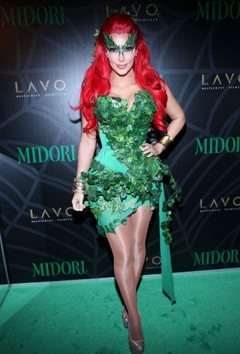 kim kardashian as villainous poison ivy at the midori green halloween party in nyc