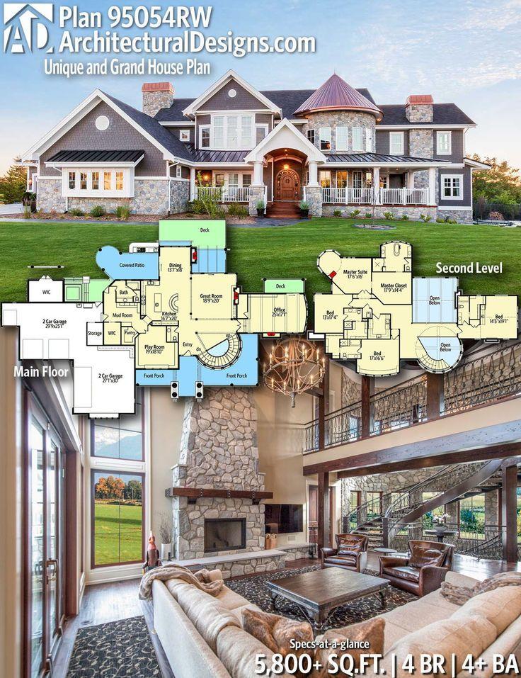 Architectural Designs Home Plan 95054rw Bietet Ihnen 4 Schlafzimmer 4 Bader Und 5 800 95054rw Architectural House Plans House Blueprints Grand Homes