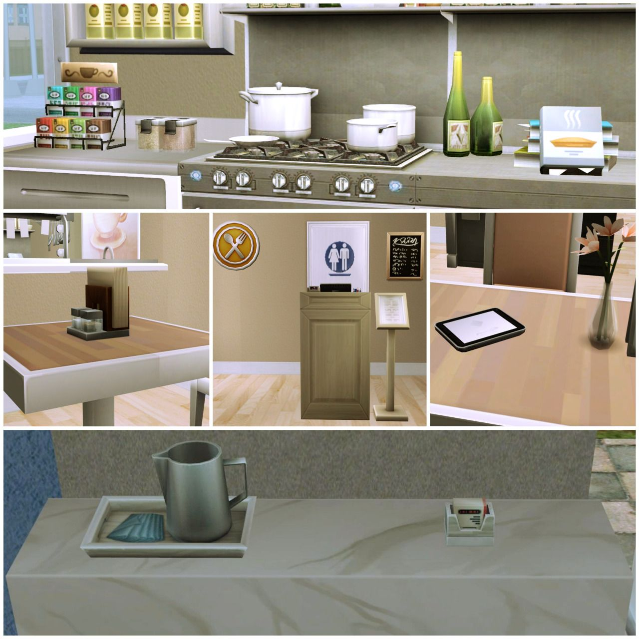 Sims4 - Sims 2 Dine Out Deco Business Card Holder Cookbooks Tea ...