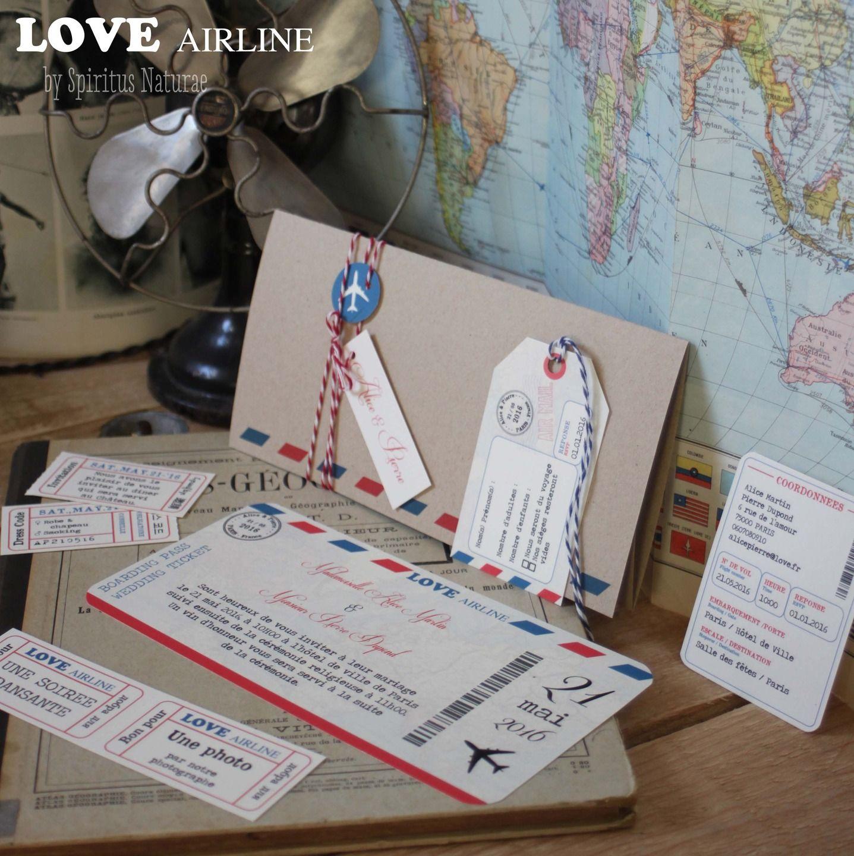 Faire Part Love Airline Billet D Avion Wedding
