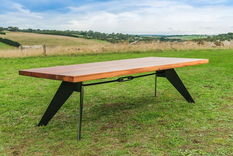 Beautiful Dining Table With Solid Timber Top And Black Metal Legs