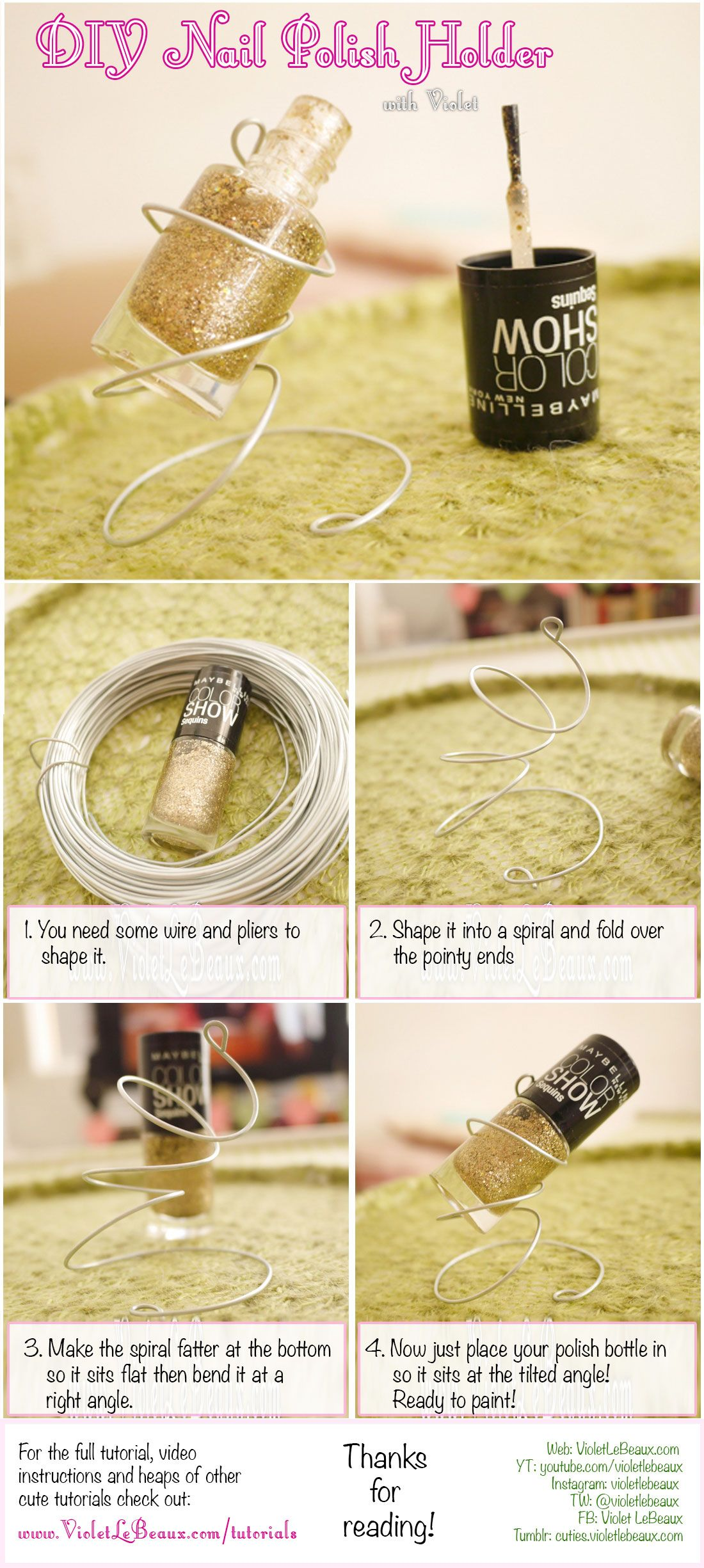 How to make your own tilted stand for nail polish bottles - DIY Nail ...
