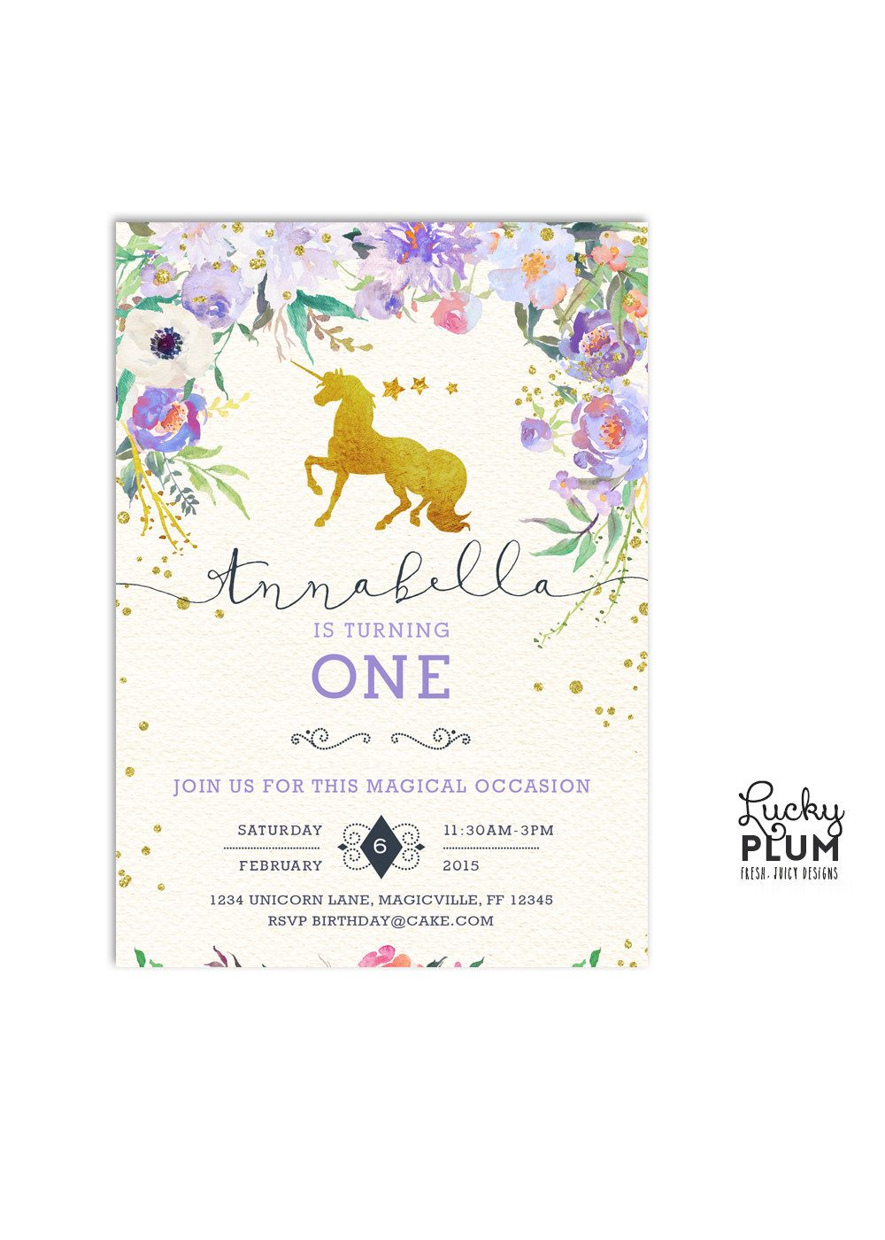 Unicorn Birthday Invitation / Woodland Birthday Invitation / First ...