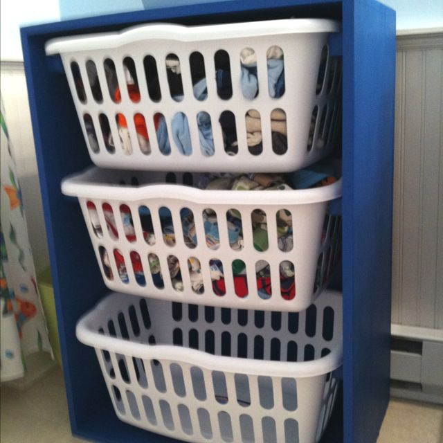 The laundry basket dresser my dad made after I saw it on here.