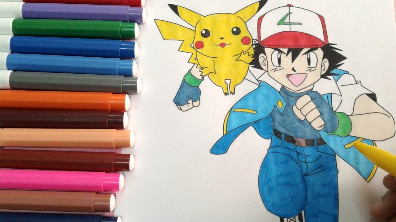 pokemon coloring pages : How to color ash and pikachu speed coloring ...