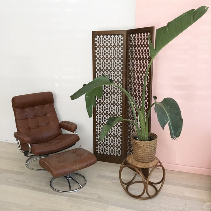 Vintage brown leather lounge chair and ottoman Leather