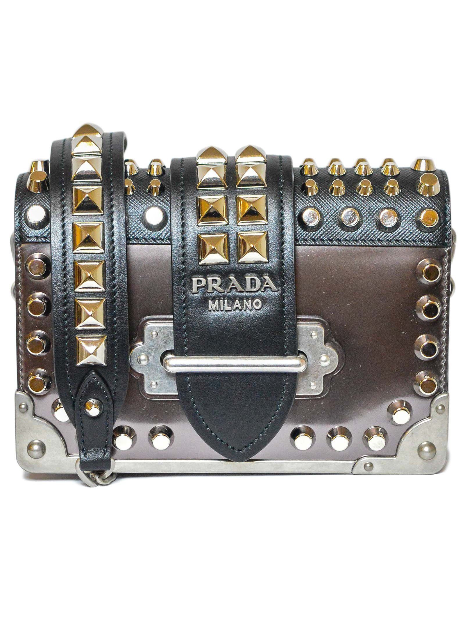 506d0af24229 PRADA PRADA STUDDED CAHIER SHOULDER BAG.  prada  bags  shoulder bags   leather
