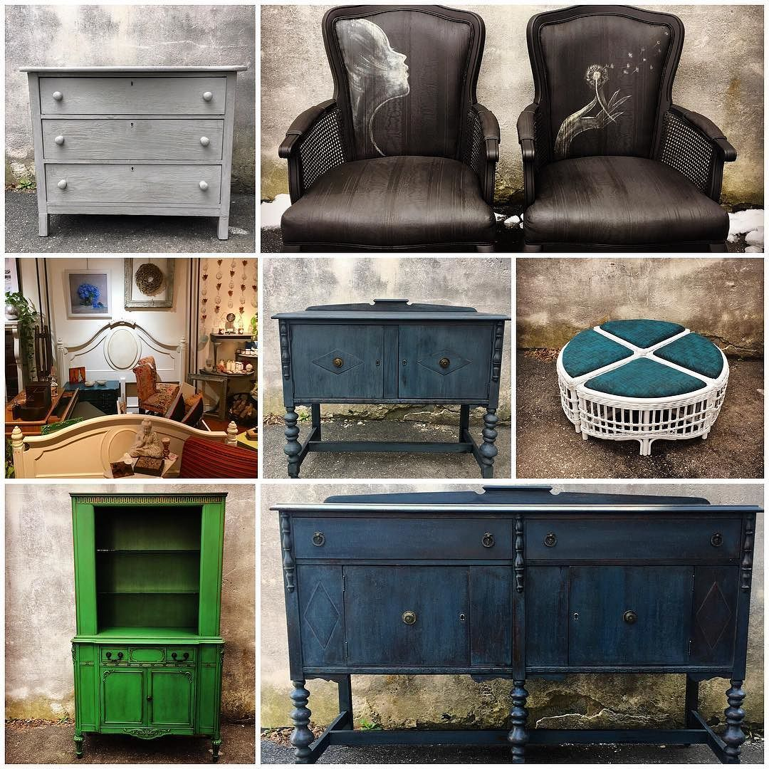 Yesterday I posted a collage of all the furniture we finished in a month. Not counting Custom work or workshops... this one is February   We are OPEN today! Please be careful coming and going our lot is still a bit icy but there is a clear path! Open 10-6 today  #furnituresaves #savingvintage #onepieceatatime #maisonblanchepaintcompany #chalkbasedpaint #mbpc #paintedfurniture #reimagined #workingfurnitureshop #eastcotelane