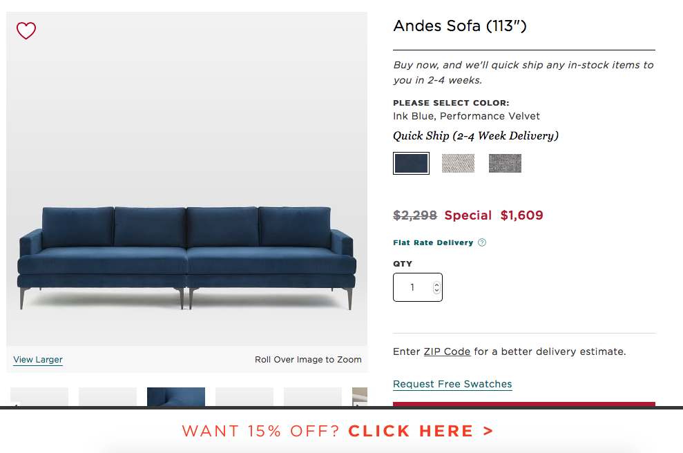 Prime West Elm Andes 113 X 40 Sofa 1610 In Blue Performance Dailytribune Chair Design For Home Dailytribuneorg