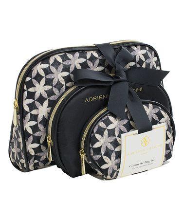 Look at this #zulilyfind! Black & White Floral Curve Cosmetic Bag - Set of Three #zulilyfinds