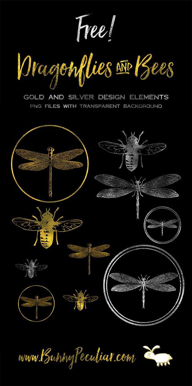 Gold and silver dragonfly and bee digital collage sheet from Bunny Peculiar. Perfect for digital scrapbooking, or jewellery making.  Resize them or overlay them on your own crafty creations!