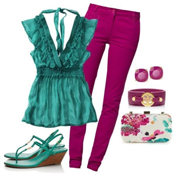 #fashion #outfit lovely mix of colors!