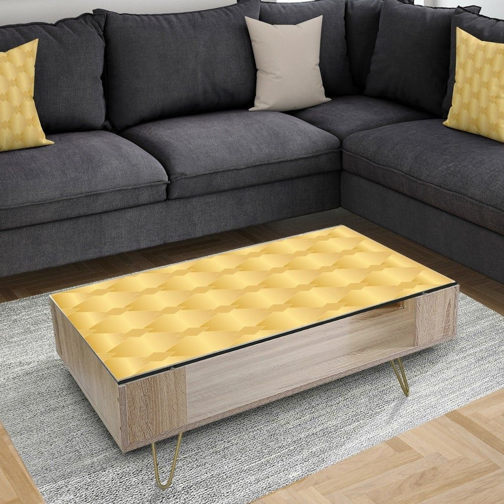 Designart Golden Geometric I Glam Coffee Table Legs Assembly Required Yellow Design Art Designar In 2020 Glam Coffee Table Coffee Table Coffee Table Vintage