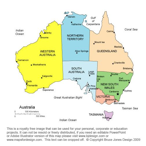 A map of Australia clearly illustrating the states and territories
