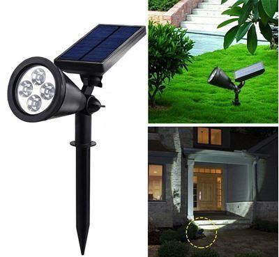 ספוט לד סולארי לגינה 4 נורות לד עם חיישן תנועה תאורת דשא