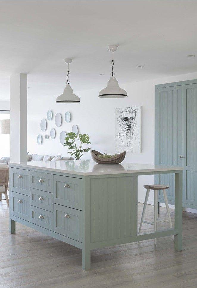 Duck egg blue oversized kitchen island shaker