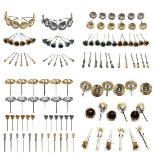 Polishing Wheels Steel Brass Wire Drill Brush Bits 3mm Shank Rotary Tool 36Pcs