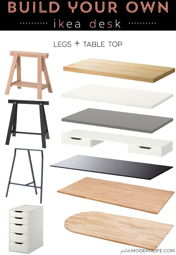 Build Your Own Ikea Desk | Desks, Modern and White table top