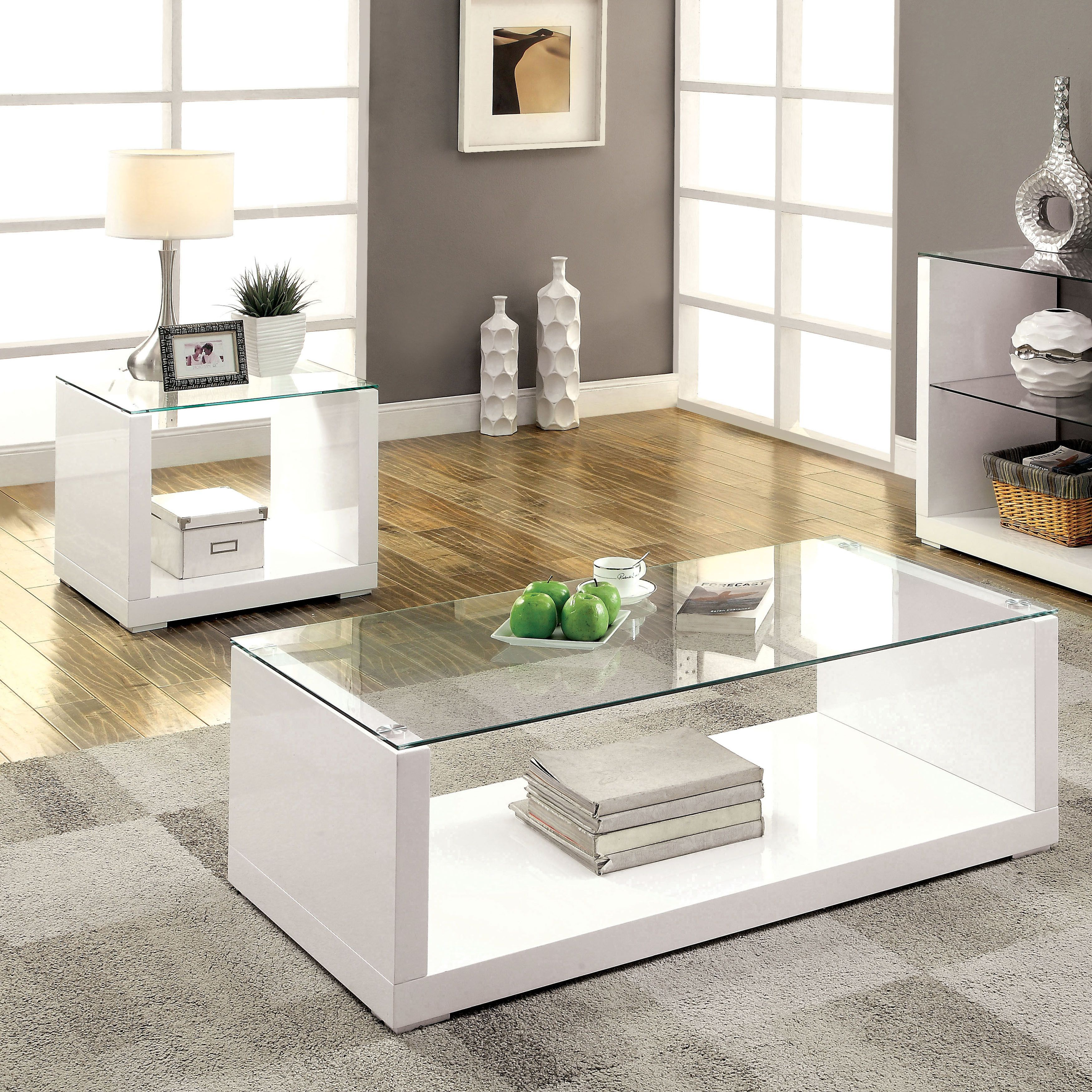 Shura Contemporary 2 Piece High Gloss Accent Table Set By Foa