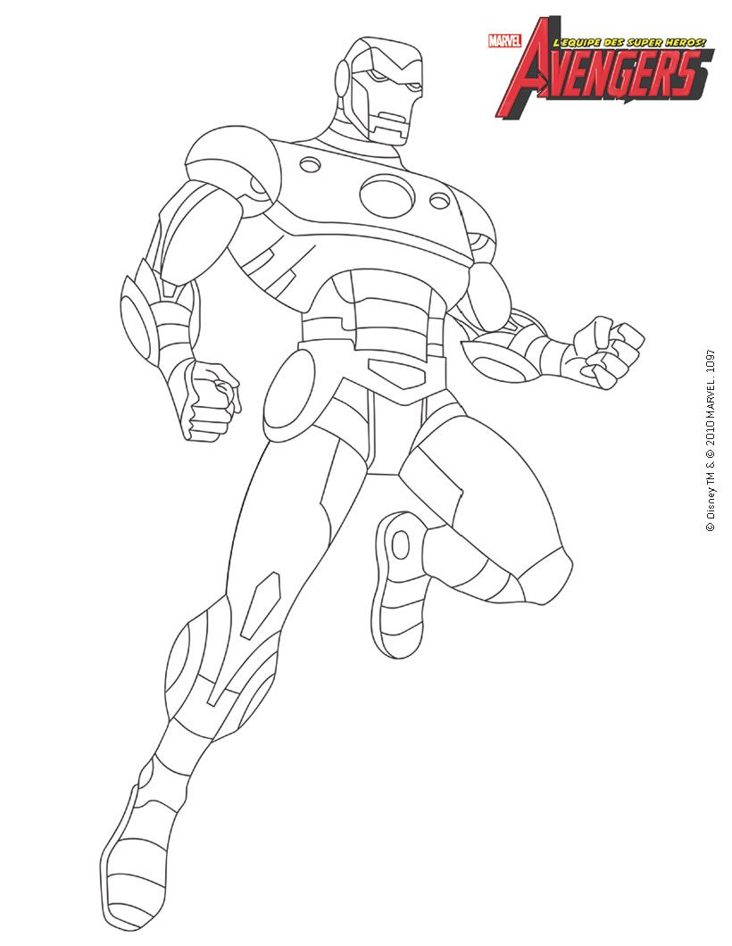 Coloriage AVENGERS - Iron Man dans les Avengers  Coloriage super
