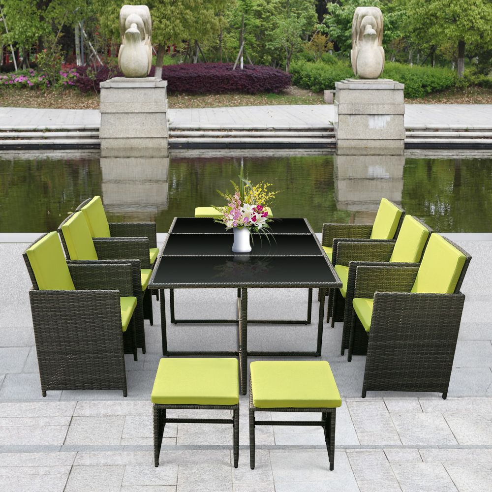 Extra 10 Off Ikayaa 11Pcs 10 Seater Rattan Patio Garden 640 x 480