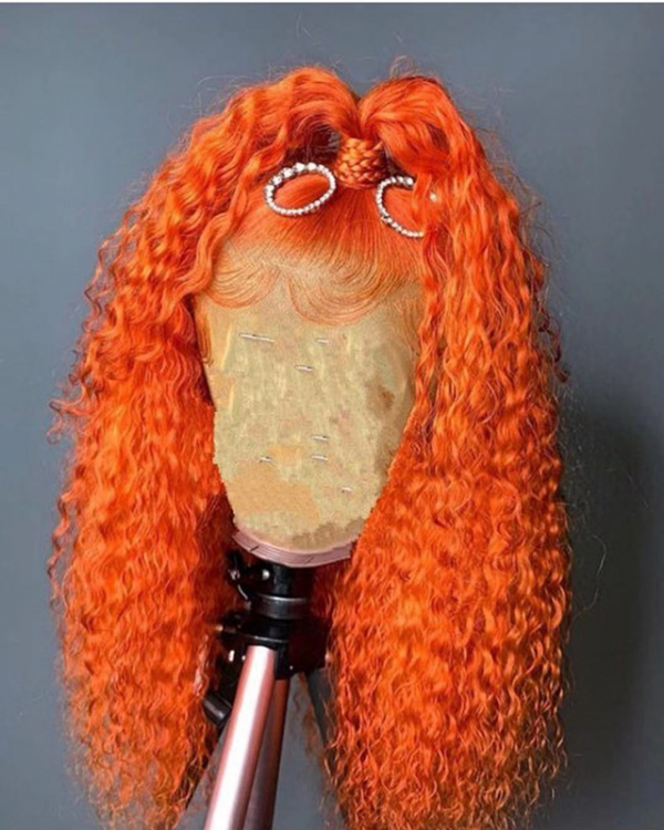 Magic Love Human Virgin Hair Orange Curly Pre Plucked Lace Front Wig And Full Lace Wig For Black Woman Free Shipping (MAGIC0436) - Human Hair Wigs #lacewigs