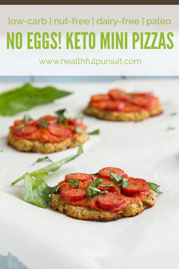 No Eggs! Keto Mini Pizzas (low-carb, nut-free, dairy-free, paleo + grain-free)