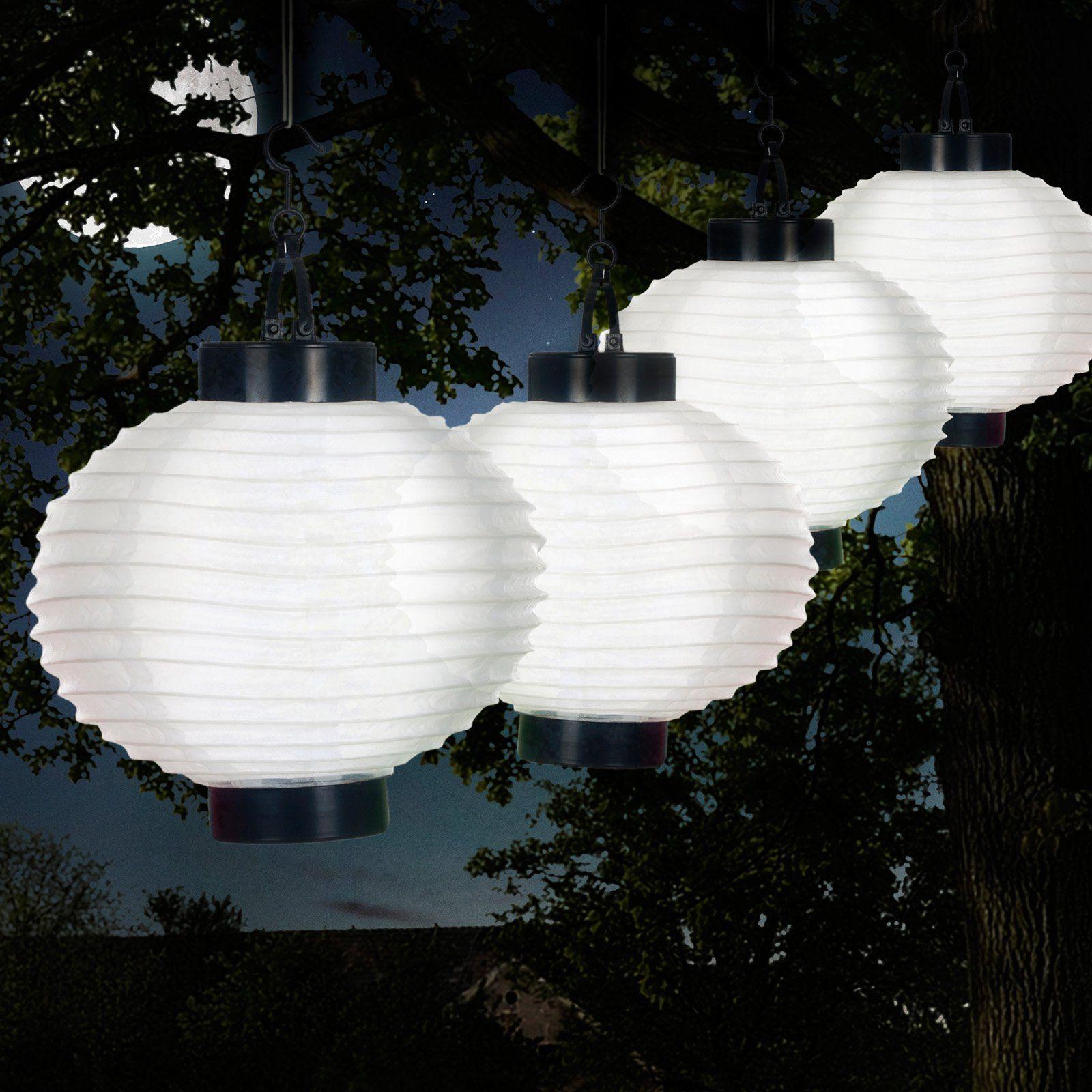 Pure Garden Outdoor Solar Chinese Lanterns Led Set Of 4 White