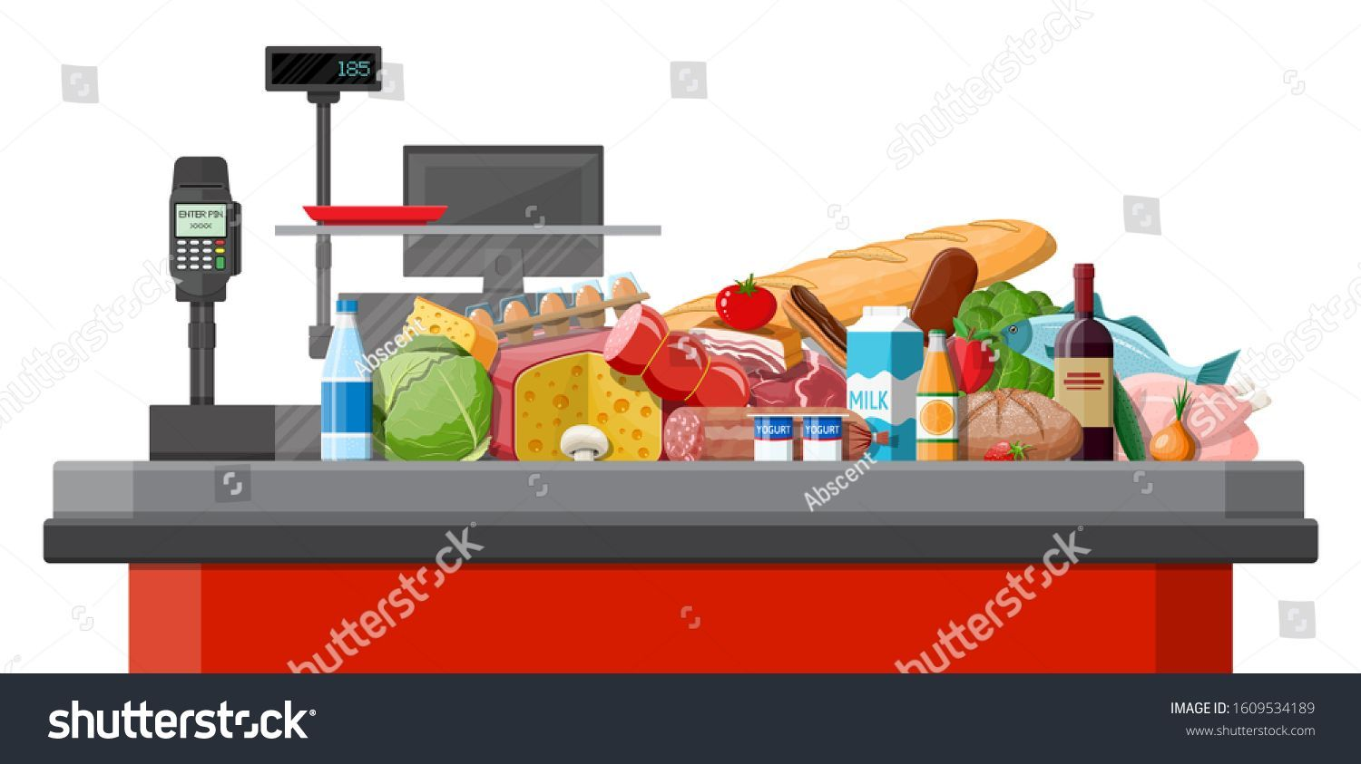 Groceries In Checkout Counter Grocery Store Collection Supermarket Fresh Orga Checkout Collection Counter Groceri In 2020 Supermarket Grocery Grocery Store
