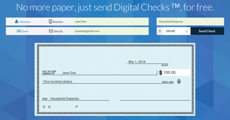 Checkbook lets you email anyone a digital check and