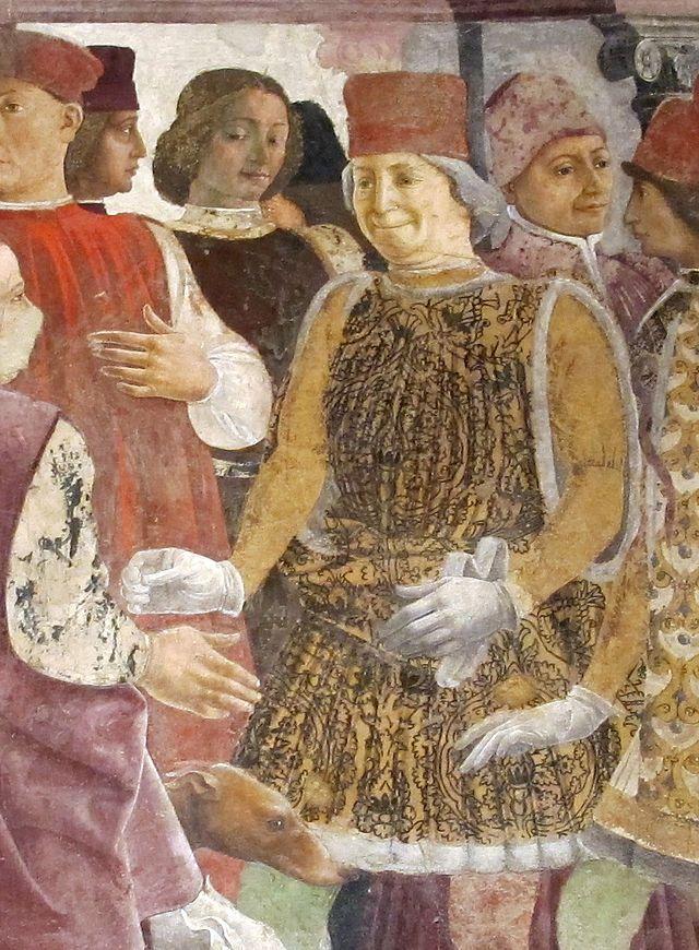 Palazzo schifanoia, salone dei mesi, 04 aprile (f. del cossa), Borso assiste al Palio di San Giorgio e dà moneta al buffone Scoccola 02 borso.jpg