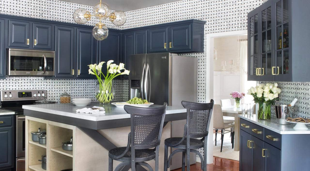 image result for starmark cabinets blueberry blue kitchen cabinets custom kitchen island on kitchen cabinets blue id=73040