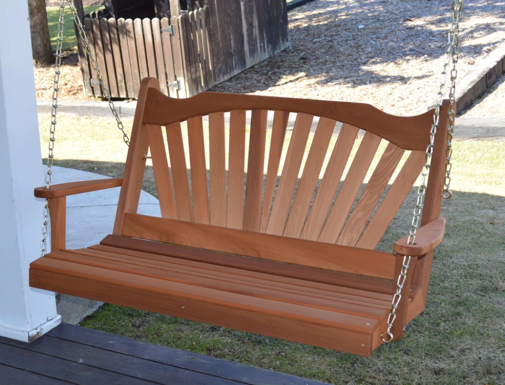 A L Furniture Fanback Wooden Porch Swing Red Cedar 4ft 5ft 6ft Porch Swing Wooden Porch Porch Swing Cushions Wood porch swings for sale