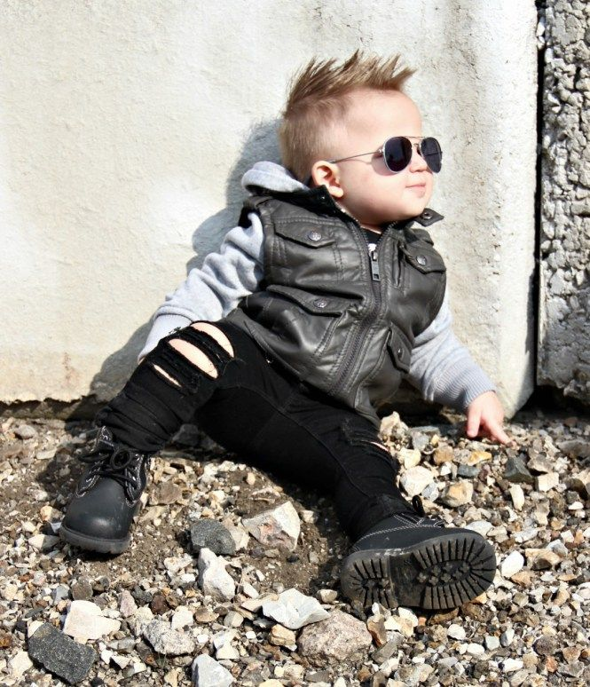 Baby Boy Fashion Toddler Boy Style, Distressed Jeans, Denim, Leather Jacket, Aviators