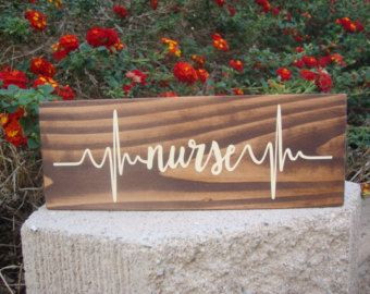 Nurse Heartbeat - Nurse Decor - Career Blocks - Medical Decor - Nurse Gift - Primitive Wood Blocks - Rustic Decor - Stained Wood Sign