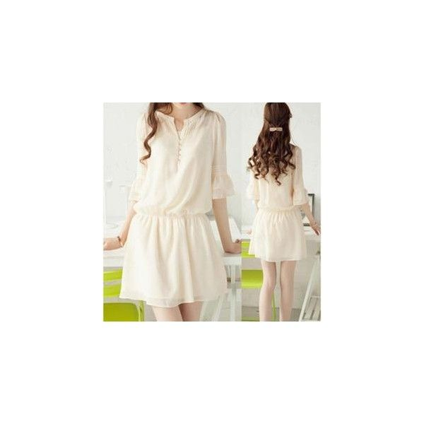 3/4-Sleeve Chiffon A-Line Dress ($23) ❤ liked on Polyvore featuring dresses, women, white three quarter sleeve dress, chiffon dress, three quarter length sleeve dress, 3/4 sleeve a line dress and 3/4 length sleeve dresses
