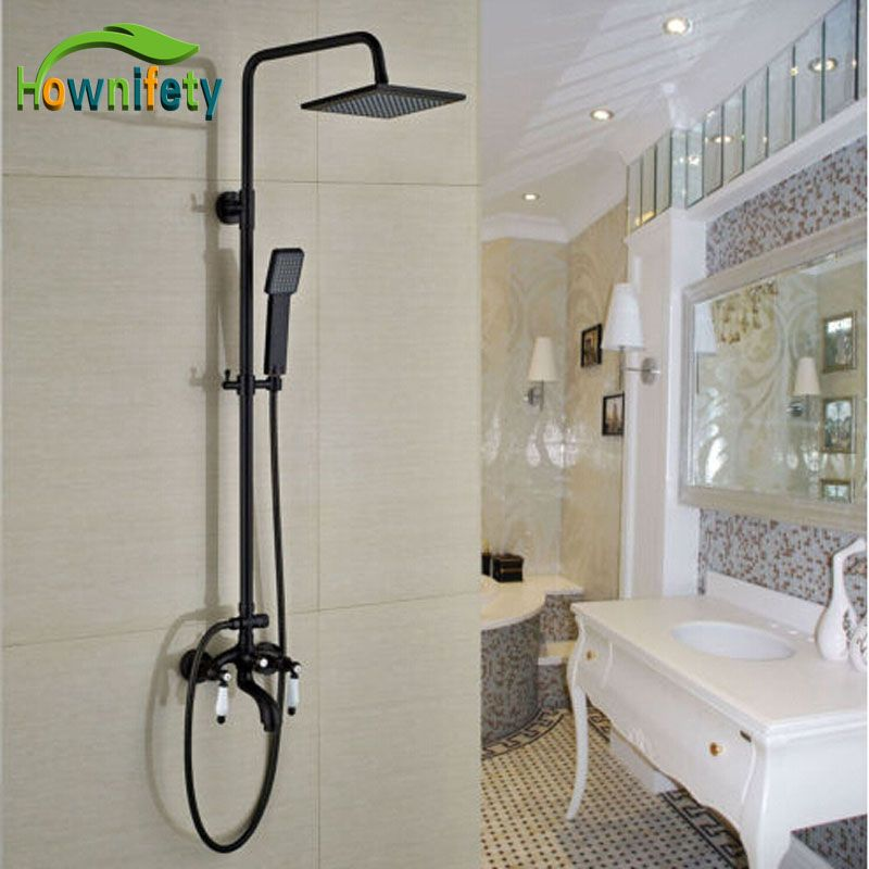 Orb Bathtub Tub Shower Faucet Set Led Light Square Shower Head