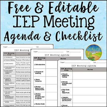 Free use this editable agenda and checklist to keep track of your free use this editable agenda and checklist to keep track of your iep meetings it includes a list of iep meeting steps with a short description maxwellsz