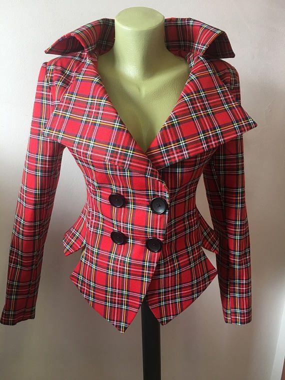 Red Tartan checked Royal Stewart tailored jacket/vintage style