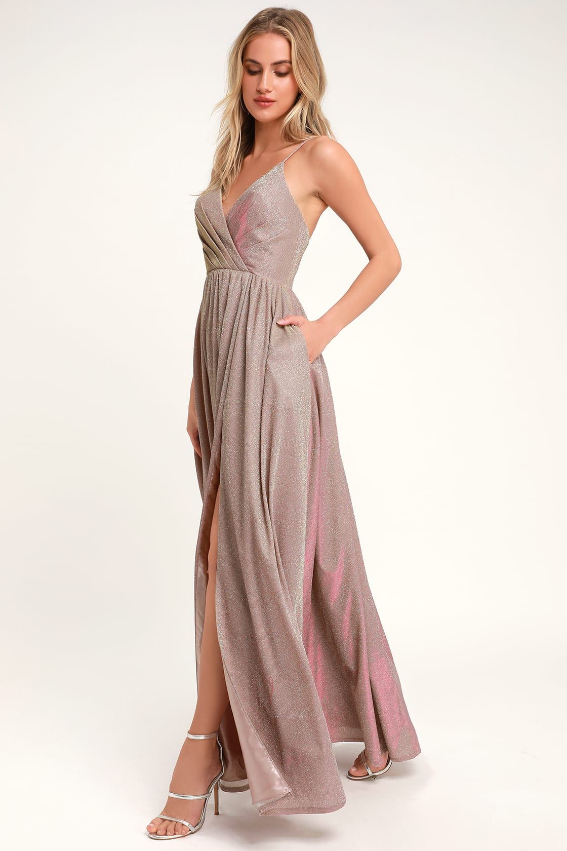 30a000a1be Glam Lavender Gown - Glitter Gown - Metallic Maxi Dress
