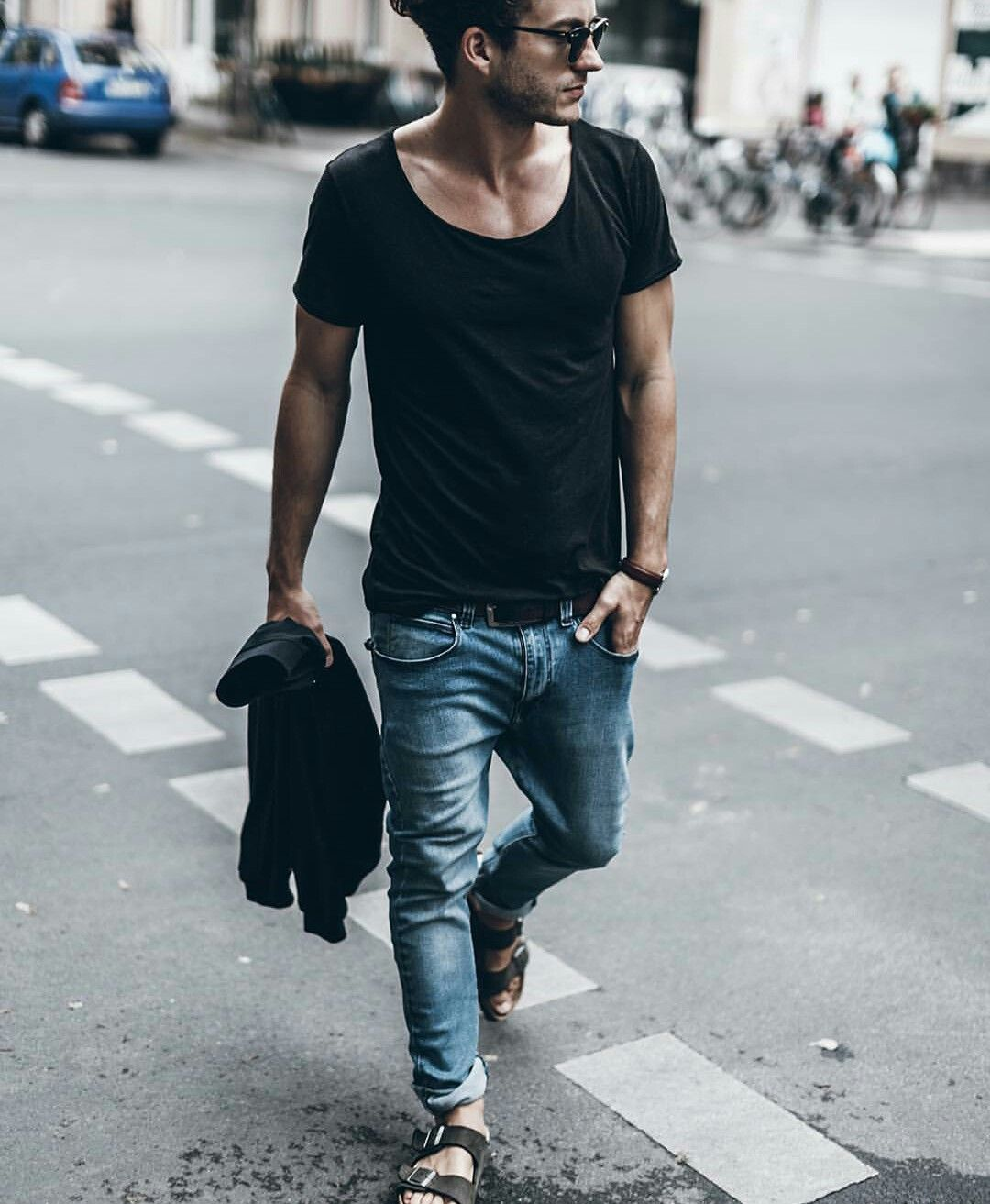 Men style. Black t,shirt. jeans. Birkenstock sandals