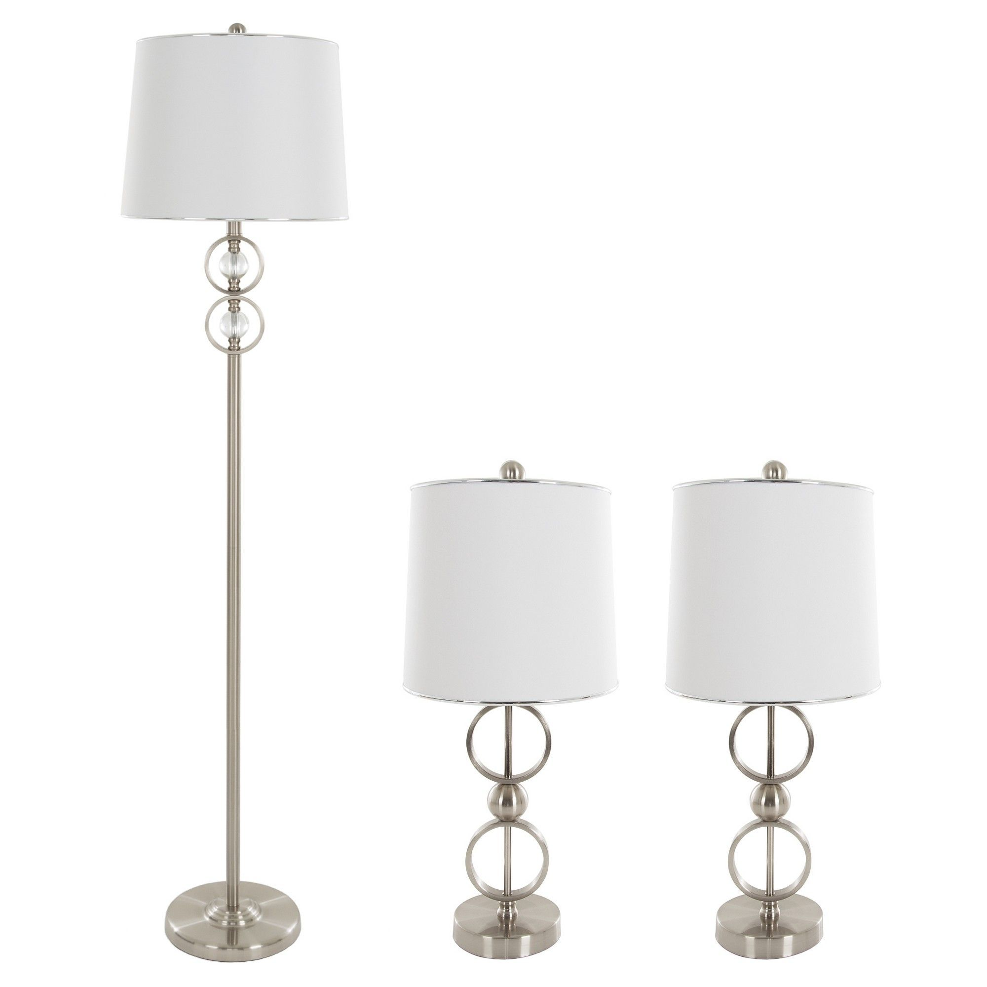 Table Lamps And Floor Lamp Modern Set Of 3 3 Led Bulbs Included Brushed Steel Yorkshire Home Lamp Sets Floor Lamp Modern Table Lamp