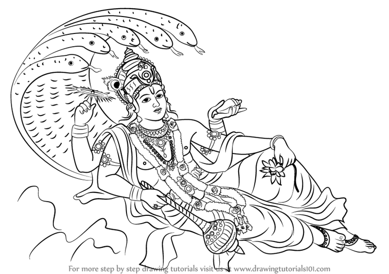 Step By Step How To Draw Lord Vishnu Drawingtutorials101 Com Lord Vishnu Vishnu God Drawing