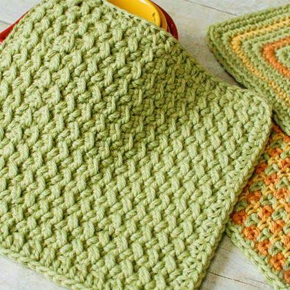 Crunchy Stitch Crochet Dishcloth Pattern Crocheted For Fall