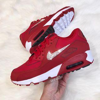 Loving the red Nike Air Max 90 💕 Yay or Nay    💎💎💎  Nike  nikeairmax   swarovski  bling 4e15d38efb61