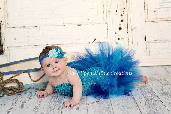 Baby Mermaid Blue Under The Sea Tutu Little Girl 3 6 12 Months Halloween Costume