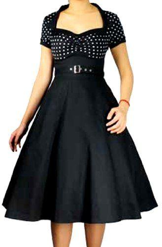 Pretty Kitty Fashion 50s Schwarz Weiß Polka Dot Retro Kleid XL ...